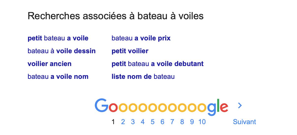 Liste recherches associées Google